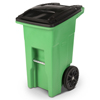 Toter 24 Gal. Lime Green Organics Trash Can with Two Wheels and Black Lid TOTONA24-10456