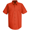 Red Kap Mens Wrinkle-Resistant Cotton Work Shirt UNF SC40OR-SS-3XL