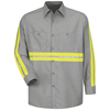 mens shirts: Red Kap - Men's Enhanced Visibility Industrial Work Shirt