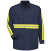 workwear shirts long sleeve: Red Kap - Men's Enhanced Visibility Industrial Work Shirt