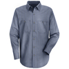 Red Kap Mens Industrial Stripe Work Shirt UNF SP14EX-LN-3XL