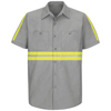 workwear mens shirts: Red Kap - Men's Enhanced Visibility Industrial Work Shirt