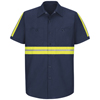 workwear large: Red Kap - Men's Enhanced Visibility Industrial Work Shirt