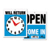 U.S. Stamp & Sign Headline® Sign Double-Sided Open/Will Return Sign with Clock Hands USS 9382
