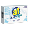 Cleaning Chemicals: All® Free Clear Vend Pack Dryer Sheets