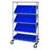 Quantum Storage Systems Mobile Slanted Shelf Cart With Bins QNT WRCSL5-63-1836-104BL