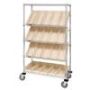 Quantum Storage Systems Mobile Slanted Shelf Cart With Bins QNT WRCSL5-63-1836-104IV