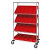 Quantum Storage Systems Mobile Slanted Shelf Cart With Bins QNT WRCSL5-63-1836-104RD