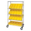 Quantum Storage Systems Mobile Slanted Shelf Cart With Bins QNT WRCSL5-63-1836-104YL