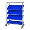 Quantum Storage Systems Mobile Slanted Shelf Cart With Bins QNT WRCSL5-63-1848-104BL