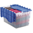 Akro-Mils Gallon Plastic Storage Keep Boxes with Attached Lids AKR66486CLDBLCS