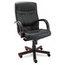 Alera Alera® Madaris Series High-Back Swivel/Tilt Leather Chair with Wood Trim ALEMA41LS10M
