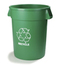 Carlisle Bronco™ Round Recycling Cans CFS341020REC09CS