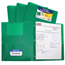 C-Line Products 2-Pocket Heavyweight Poly Portfolio Folder w/Prongs, Green CLI33963BNDL12EA