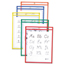 C-Line Products Reusable Dry Erase Pockets, Assorted Primary Colors, 9 x 12 CLI40620