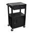 Luxor Multipurpose Utility Cart with Cabinet & Drawer LUXWT42C2E-B-WTD