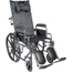 Drive Medical Silver Sport Reclining Wheelchair with Full Arms and Elevating Leg Rest SSP16RBDFA